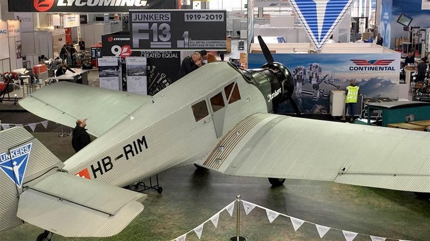 The Junkers F13 on the exhibit floor. Photo by Sylvia Horne.