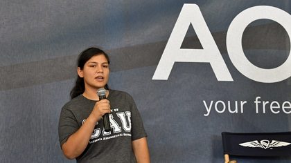 Kimberly Rodriguez Gaona, the Bakersfield, California, high school senior who received California Aeronautical University's $151,650 Dreams Take Flight Scholarship, addressed the audience during the Pilot Town Halls at AOPA's Livermore Fly-In. Photo by Mike Collins.