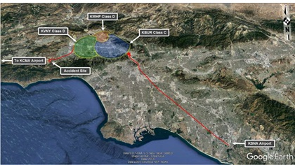 The NTSB used radar and ADS-B data to reconstruct the flight path. Image courtesy of the NTSB.