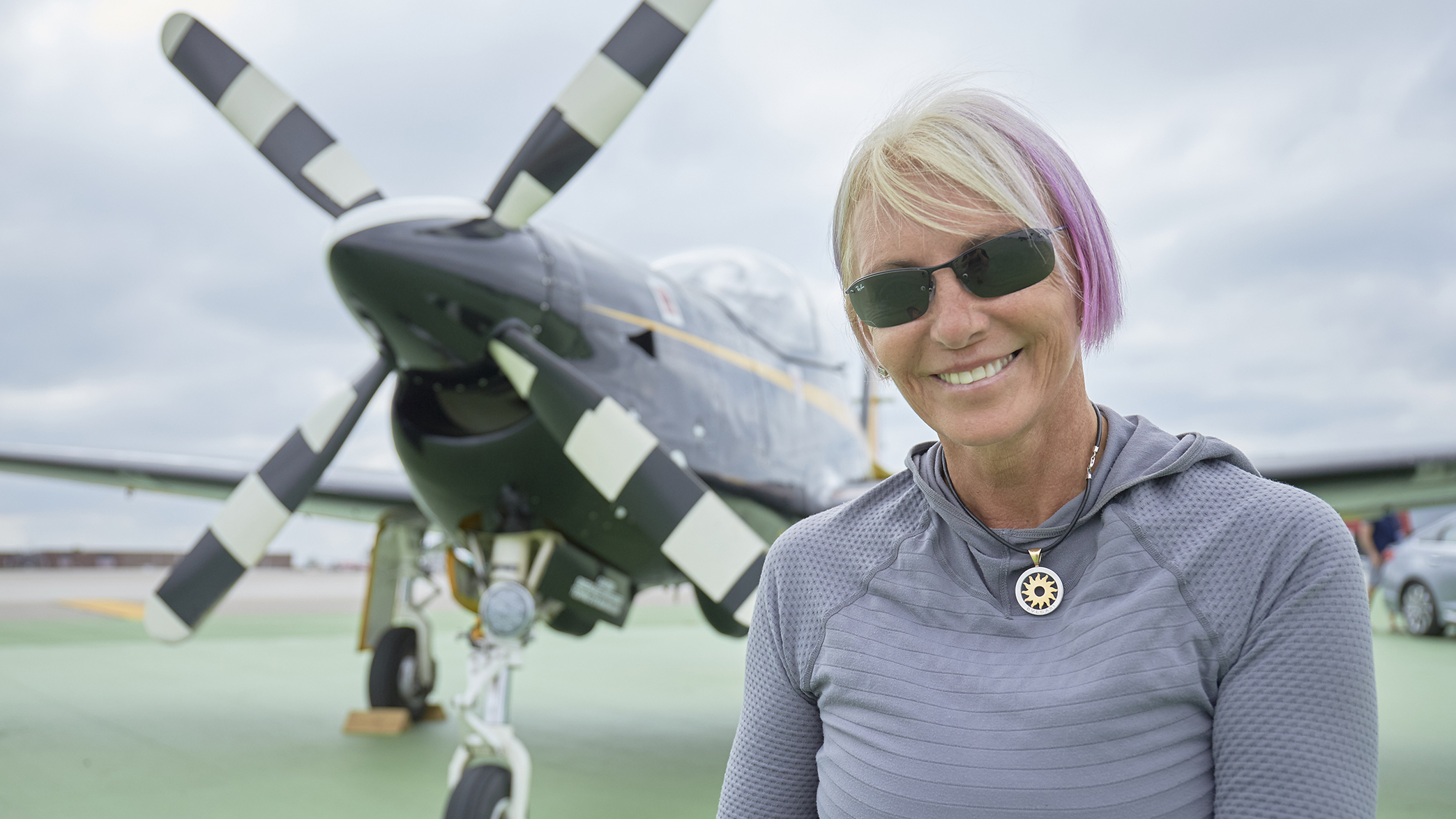 Photography of the 2016 Vectren Dayton Air Show. Portrait of Patty Wagstaff with herShort Tucano Mk1.Dayton International Airport (DAY)Dayton, OH  USA