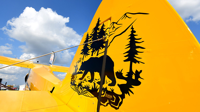 AOPA's Sweepstakes Super Cub sports come cool tail art for its debut at Sun 'n Fun.