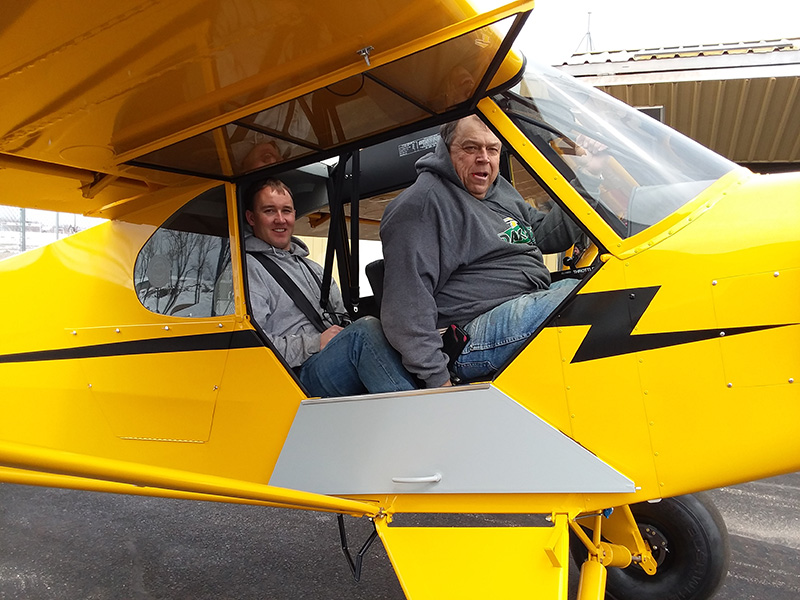 Father-son Roger and Darin Meggers take the Super Cub up for its third and final test flight April 7 before it heads to Florida for the Sun 'n Fun International Fly-In and Expo.