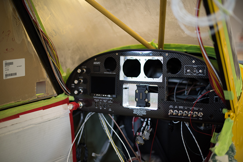 Instrument panel and wiring are in! Photo courtesy of Aerotronics.