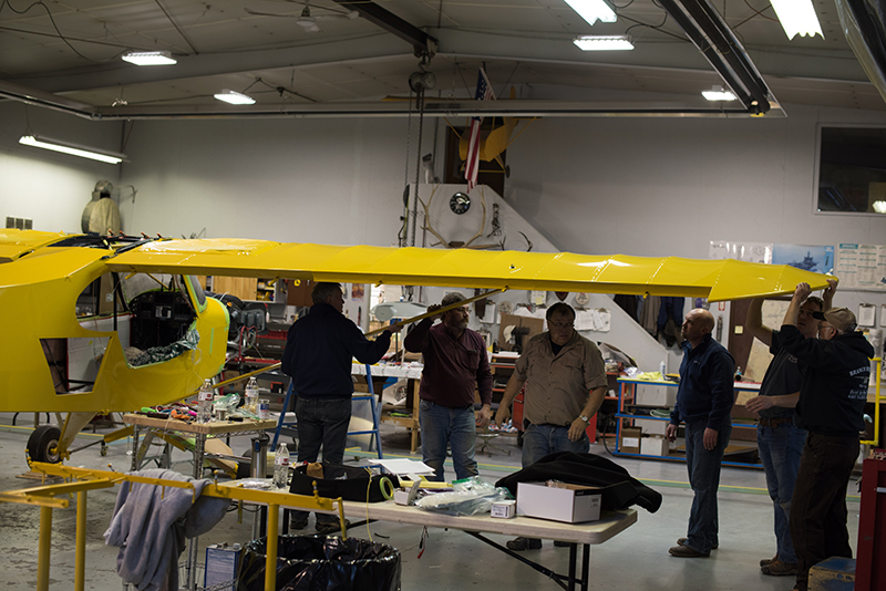 As many as seven people were working on the Super Cub at one time, from working on the engine to installing the instrument panel to putting on the wings. Aerotronics joined Baker Air Service for a couple days of marathon work. Photo courtesy of Aerotronics.