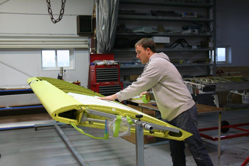 Baker Air Service's Darin Meggers preps the wing for covering. Photo courtesy of Baker Air Service.
