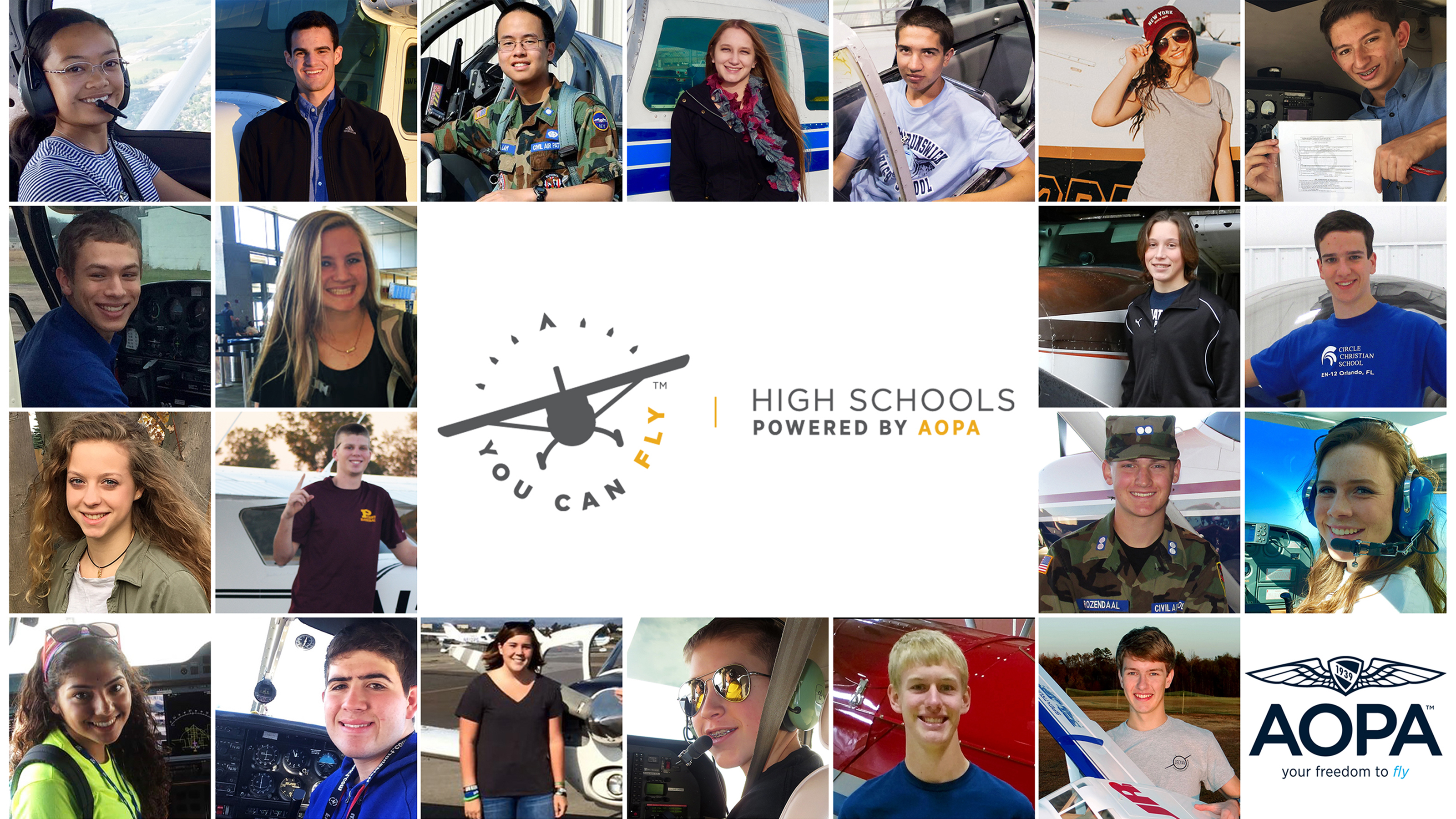 2017 high school scholarship winners. Collage by AOPA staff.
