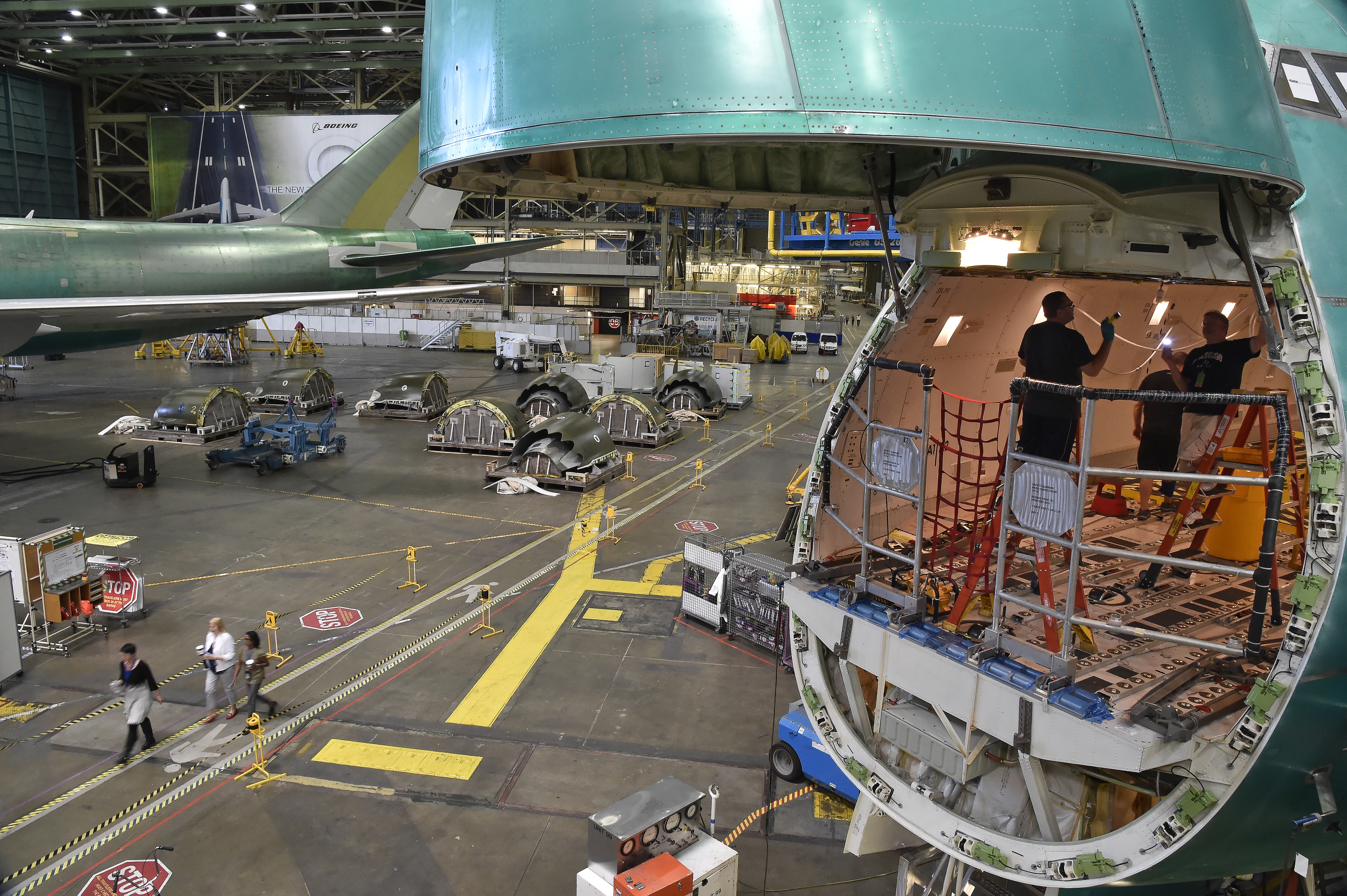 Boeing's Everett, Washington, factory at Paine Field employs 40,000 workers to assemble its line of jet airliners. Photo by David Tulis.