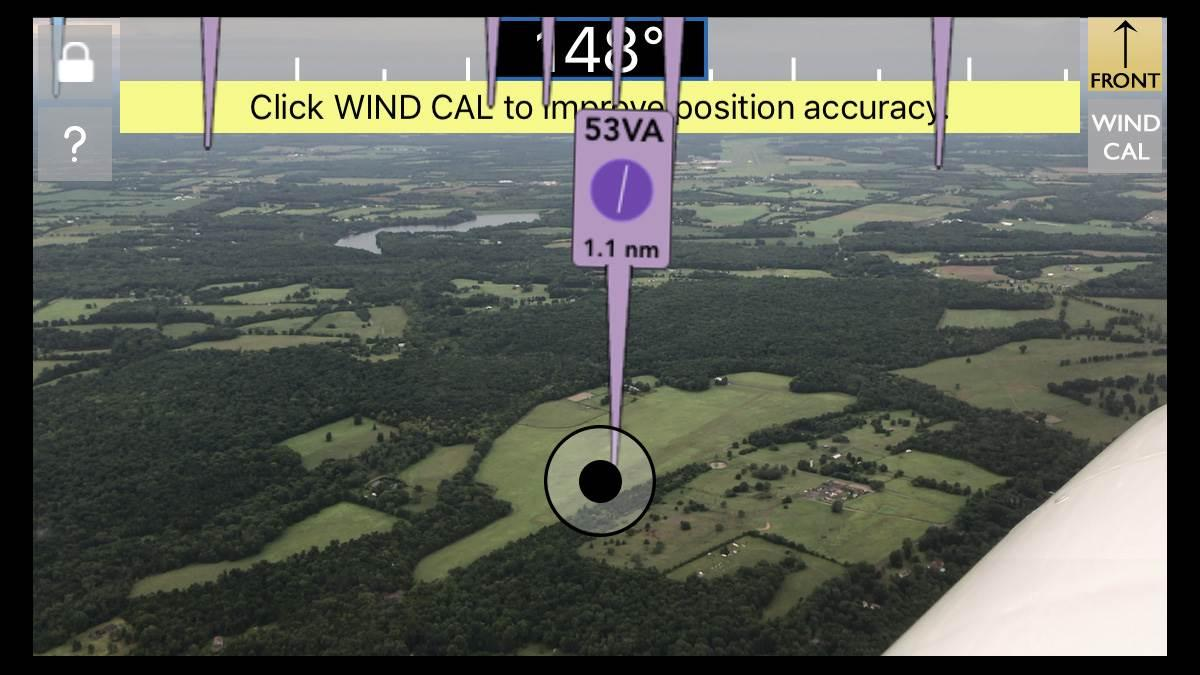 FlyQ Insight overlays airport information on the camera view of an iOS device. This screen image was taken during an AOPA test flight.