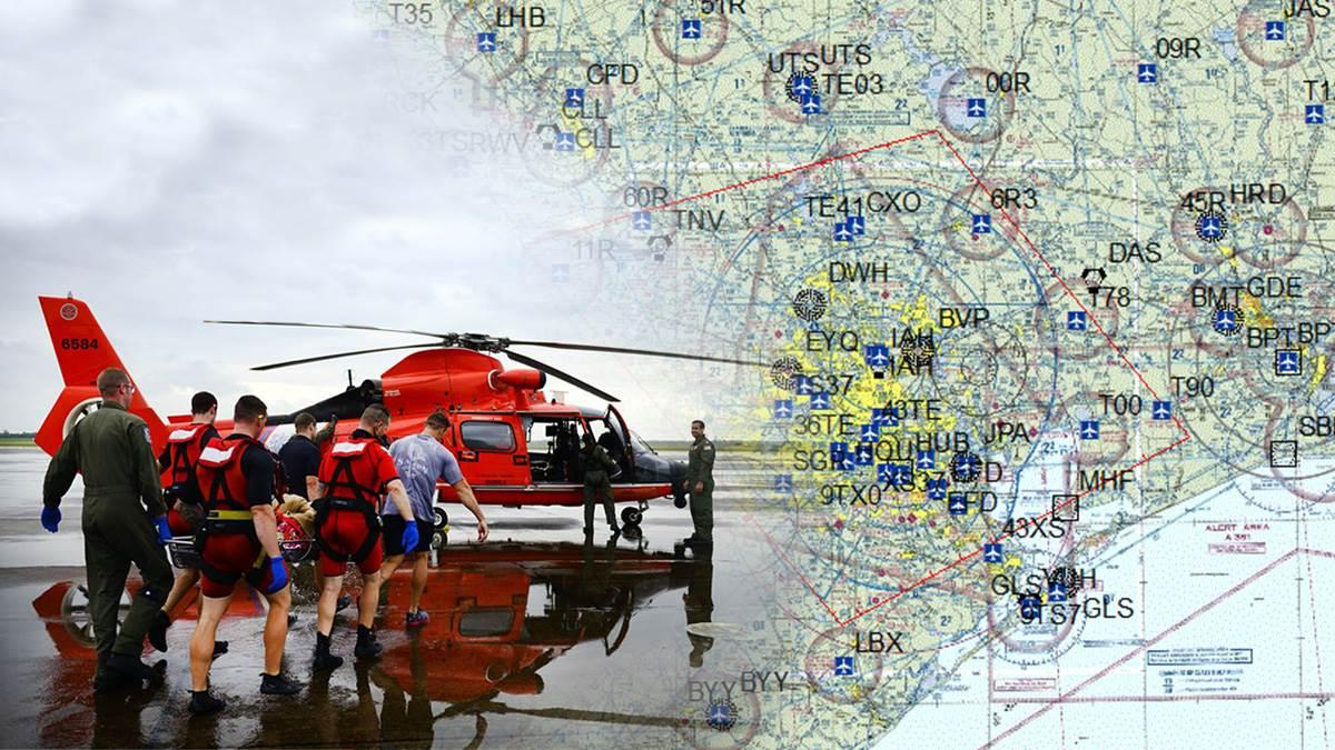 Photo composite created by AOPA includes FAA flight restriction graphic, and a photo taken Aug. 27 by U.S. Coast Guard Petty Officer 3rd Class Johanna Strickland.
