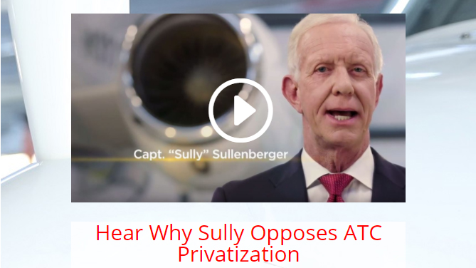 Sully speaks out against ATC privatization. Image courtesy of ATCnotforsale.com.