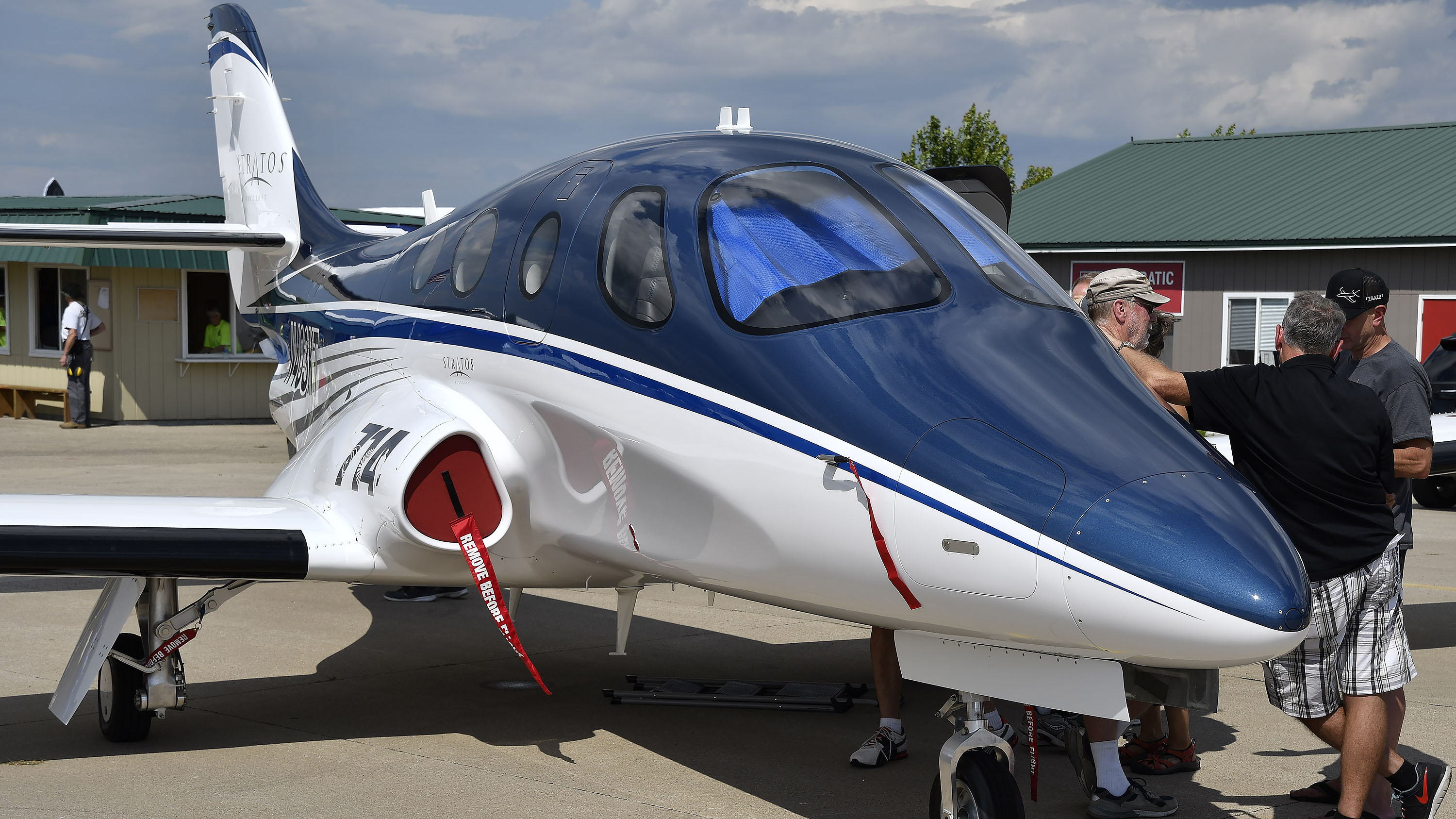 The 400-knot Stratos personal jet is on display at Boeing Plaza during EAA AirVenture at Wittman Regional Airport in Oshkosh, Wisconsin, July 23. Photo by David Tulis.