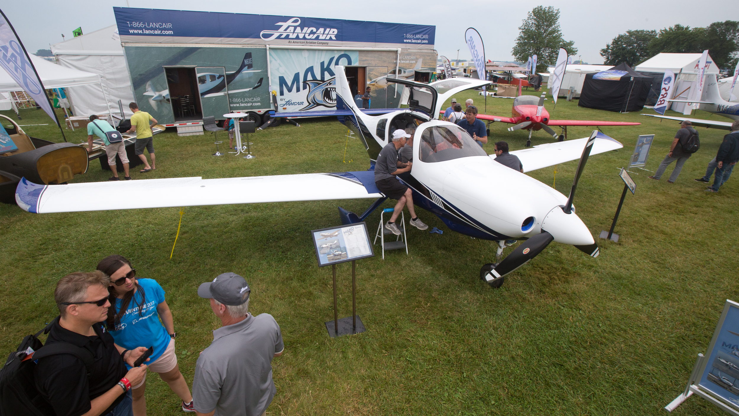 The Lancair Mako draws interest at EAA AirVenture in Oshkosh, Wisconsin. Jim Moore photo.