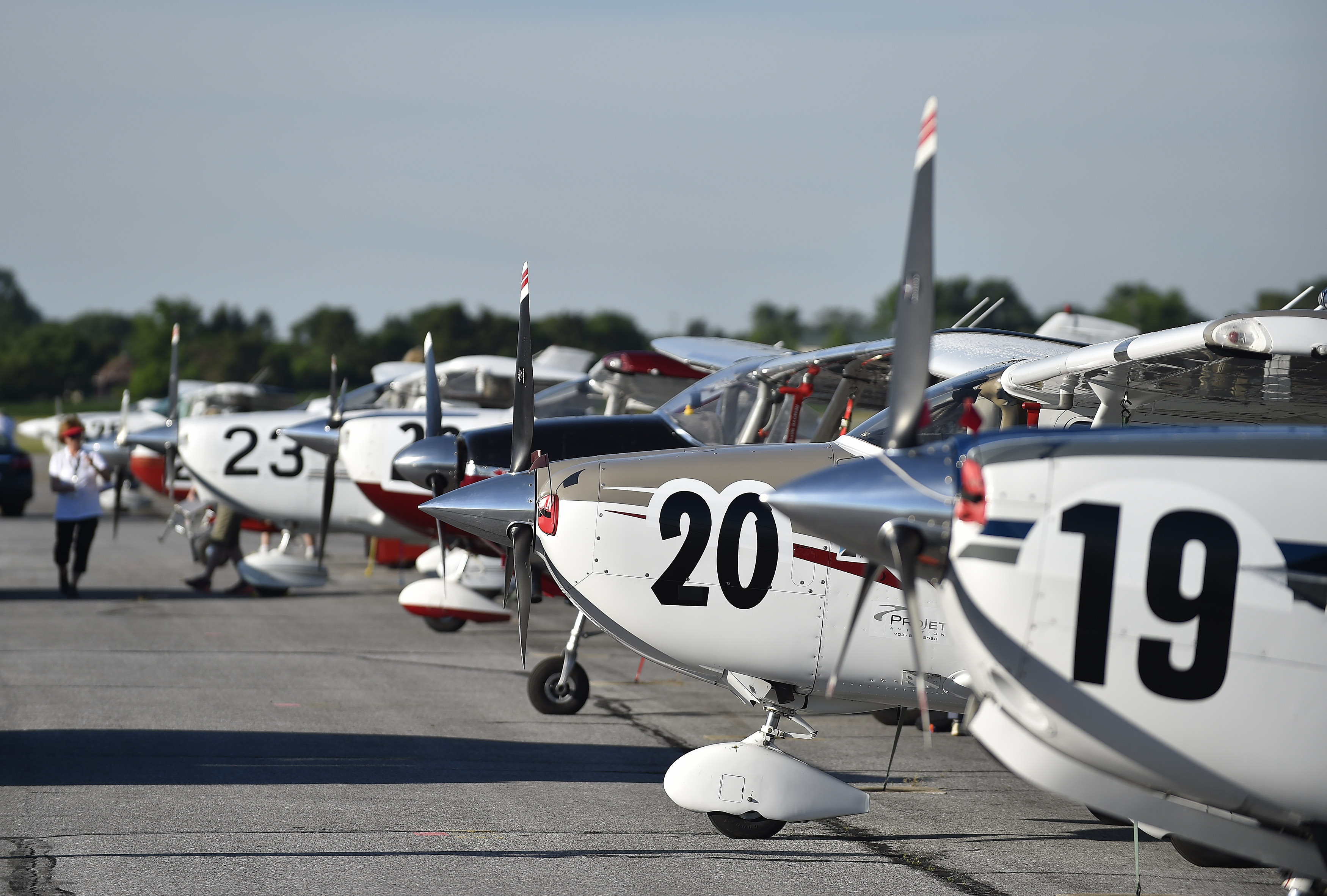 Aircraft await more than 100 Air Race Classic all-female competitors for a four-day, 14-state cross country journey from Frederick, Maryland, to Santa Fe, New Mexico, June 20. Photo by David Tulis.