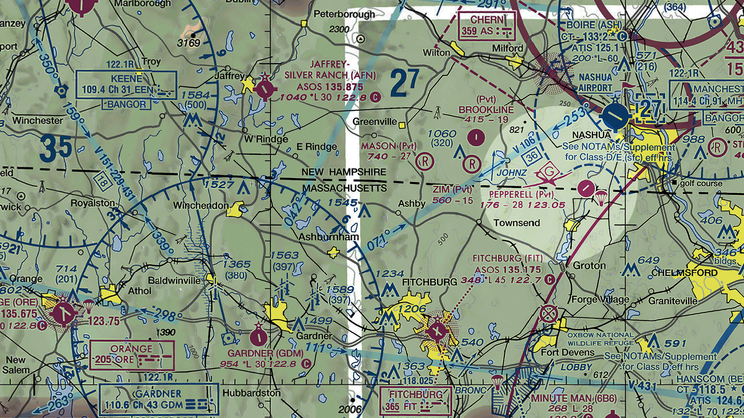 Chart illustrating parachute jumping area between Fitchburg and Boire airports.