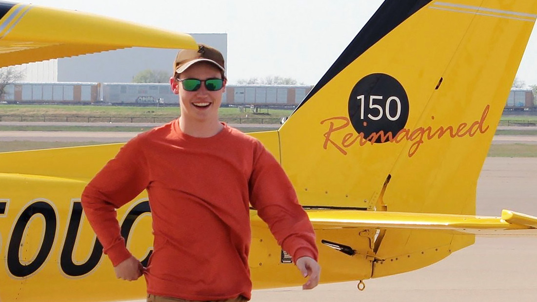 Flight student Josh Chastain is the first solo from the Nate Abel Flying Club in Fort Worth, Texas. The club won the 2016 AOPA Flying Club 150 Giveaway in which it was awarded a Reimagined Cessna 150. Photo courtesy of the Nate Abel Flying Club.