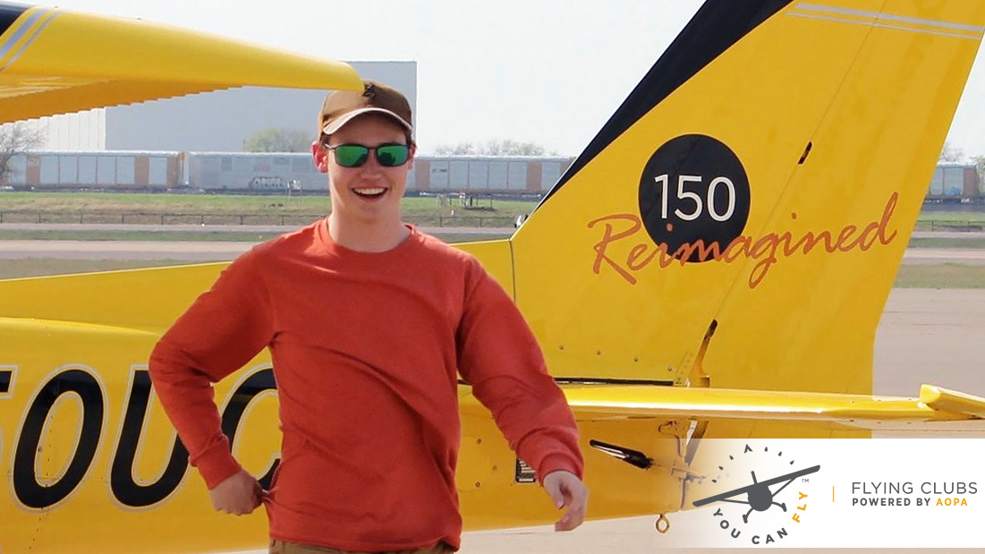 Flight student Josh Chastain is the first solo from the Nate Abel Flying Club in Fort Worth, Texas. The club won the 2016 AOPA's Flying Club 150 Giveaway in which it was awarded a Reimagined Cessna 150.