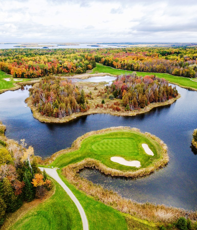 "The Drummond Island Resort's championship golf course, ""The Rock,"" offers unique greens surrounded by water. Photo courtesy Drummond Island Resort."