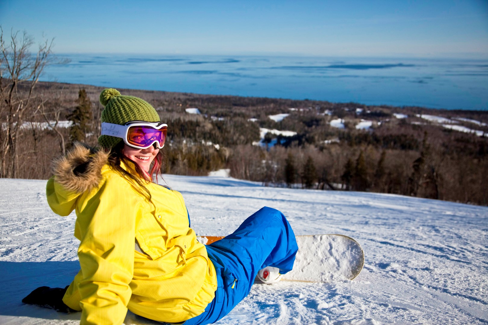 Snowboarding with an ocean view? No, it's Lake Superior, the world's largest freshwater lake (by surface area), as viewed from a slope at the Lutsen Ski Resort. Stephan Hoglund Photography.
