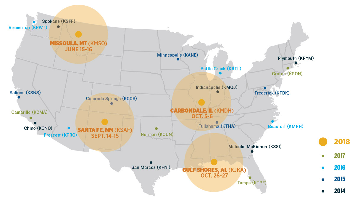 AOPA's 2018 Fly-In locations include Missoula, Montana; Santa Fe, New Mexico; Carbondale, Illinois; and Gulf Shores, Alabama.