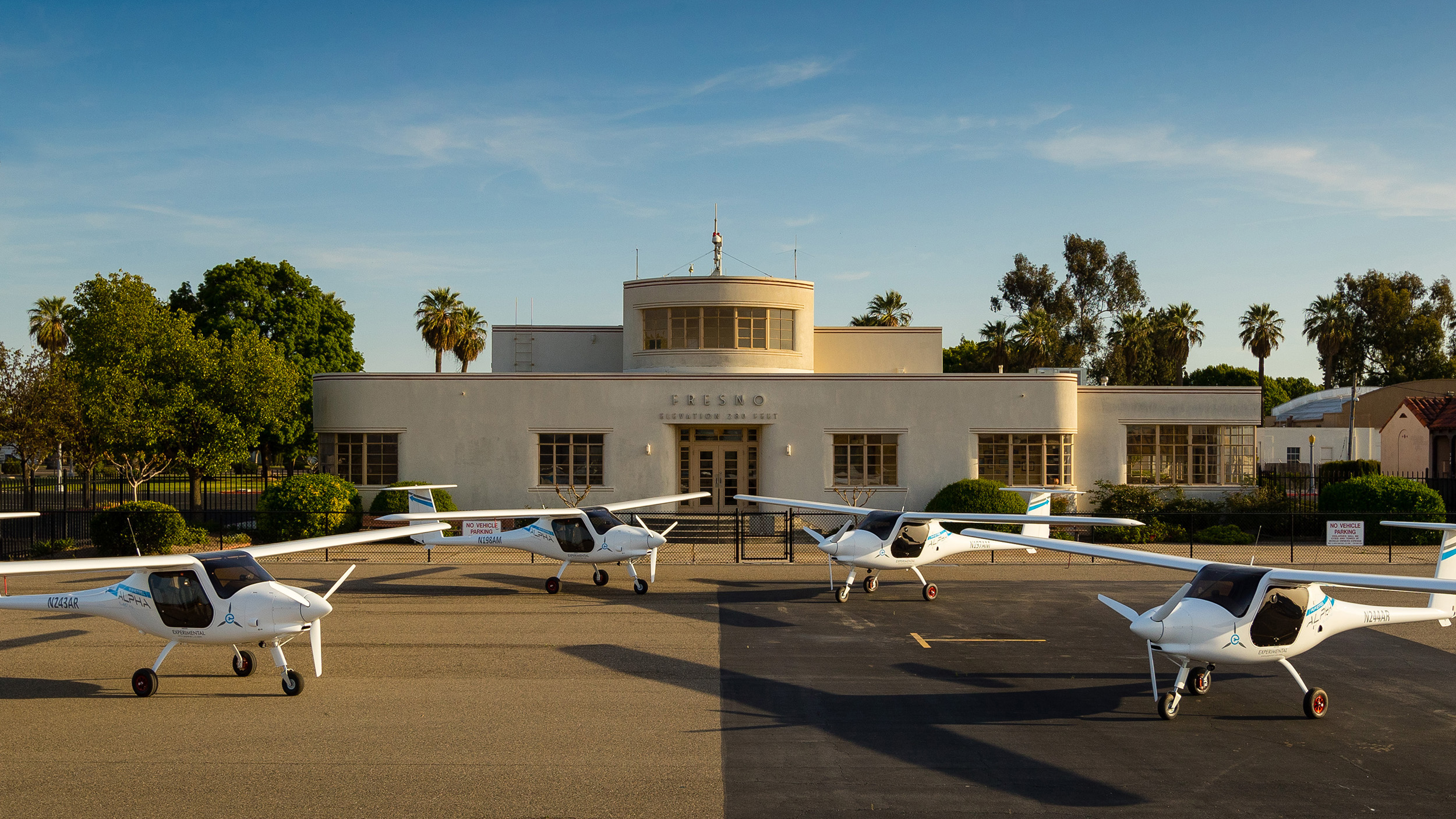 Four Pipistrel Alpha Electro aircraft are now being tested in California's San Joaquin Valley, with the goal of validating electric propulsion in the flight training environment. Officials celebrated their arrival April 17 with a ceremony at Fresno Chandler Executive Airport. Photo by Douglass Fletcher Sisk, courtesy of the Sustainable Aviation Project.