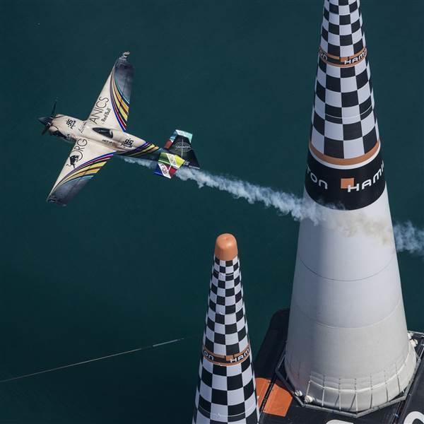 Matt Hall of Australia performs during finals at the second round of the Red Bull Air Race World Championship in Cannes, France, on April 22, 2018. Photo by Joerg Mitter/Red Bull Content Pool.
