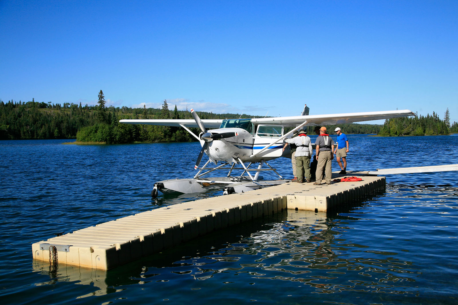 An Isle Royale Seaplanes Cessna 206 docks at Tobin Harbor, near Rock Harbor. Isle Royale is one of the few national parks you can access directly via seaplane. Photo courtesy Isle Royale Seaplanes.