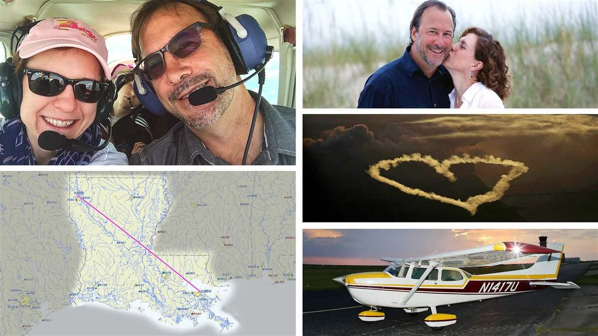 New Orleans-based photographer Gerald Herbert pursued his pilot certificate after he met and fell in love with Lucy Sikes, who lives 330 miles away in Shreveport, Louisiana. Photos courtesy of Gerald Herbert. Composite by AOPA staff.