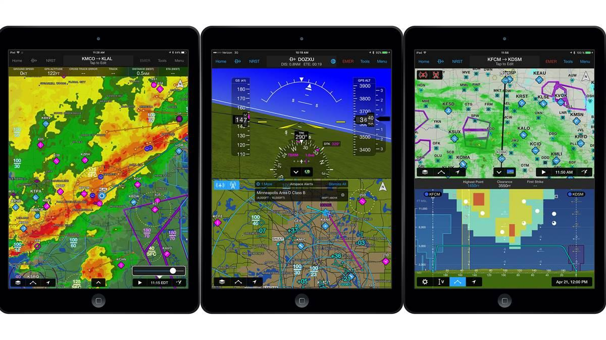 With the version 9.3 update, Garmin Pilot for iOS now includes new features to enhance a pilot's storm awareness (left) airspace awareness (center), and icing awareness (right). Images courtesy of Garmin.