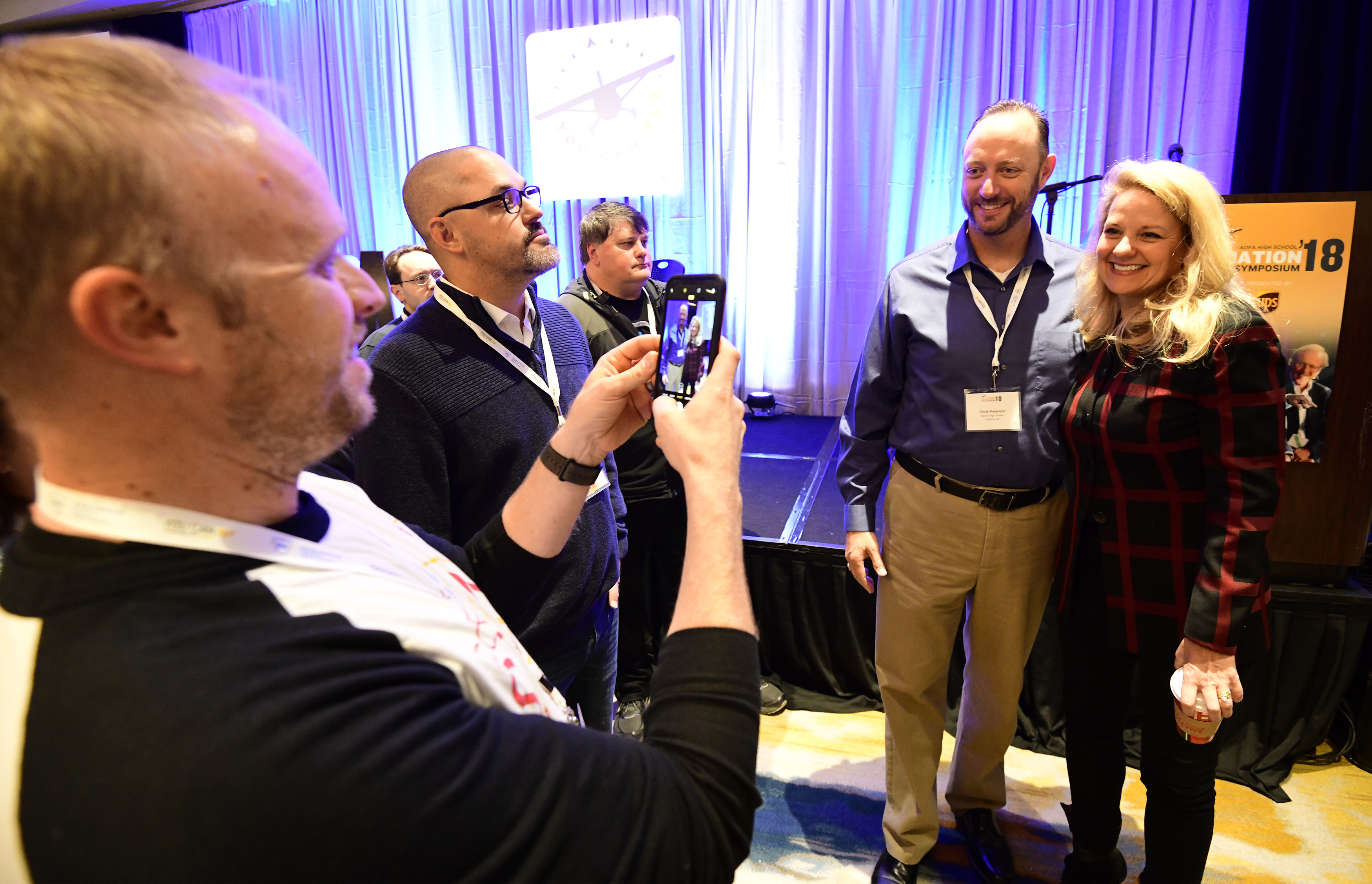 SpaceX CEO Gwynne Shotwell poses for photos after participating in a keynote during the AOPA High School Aviation STEM Symposium in Louisville, Kentucky, Nov. 6, 2018. Photo by David Tulis.
