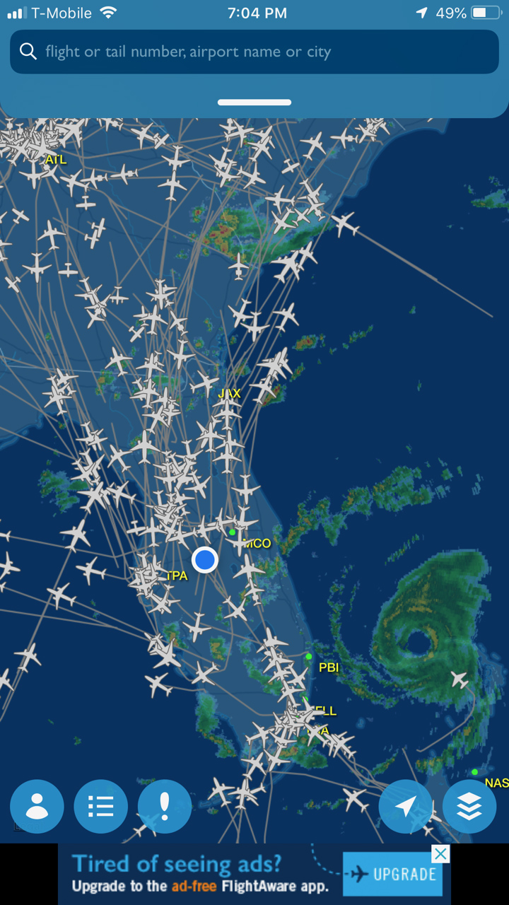 AOPA You Can Fly Florida Ambassador Jamie Beckett captured an image of air traffic ahead of Hurricane Dorian along with Hurricane Hunters flying in the eye of the storm, lower right. Image courtesy of FlightAware.