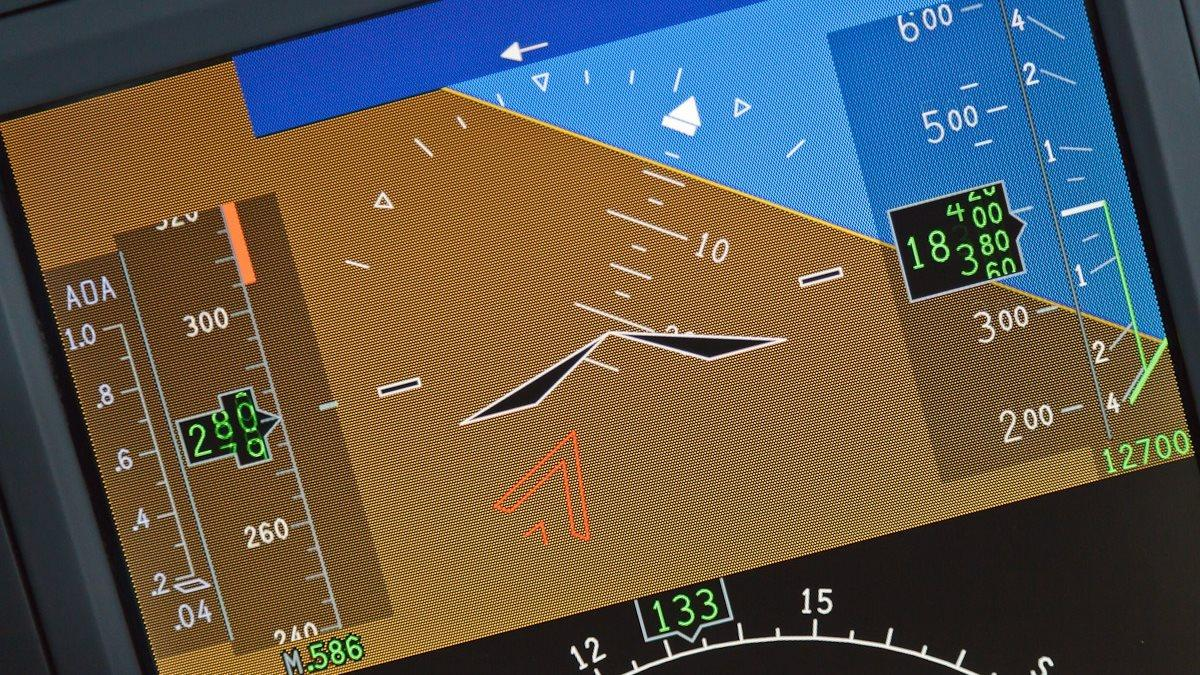 Photography of the primary flight display of a Cessna Citation CJ4 Simulator of various V speeds, unusual attitudes and hazardous situations.Wichita, KS  USA