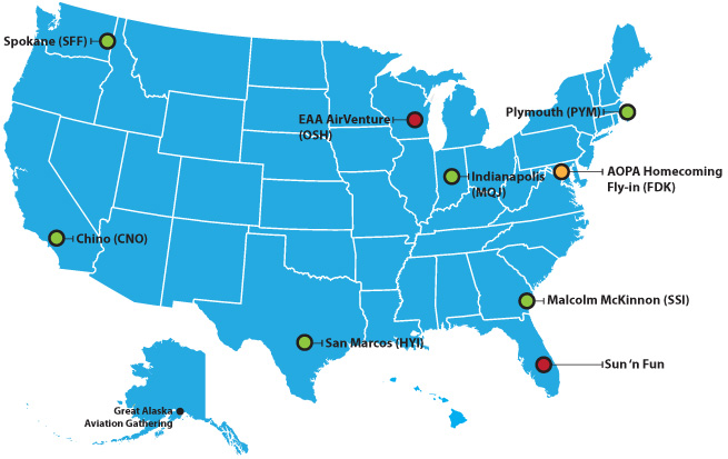map of aopa fly ins