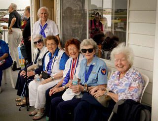 "Mayor Gow Fields proclaimed April 11 ""Women in Air Service 70th Anniversary Commemoration Day."" Attending were (left to right): Florence Elion Mascott, Dora Dougherty, Bernice ""Bee"" Haydu, Elizabeth ""Betty Wall"" Strohfus, Nell S. Bright, Barry Vincent Smith, and Kathleen Hilbrandt."