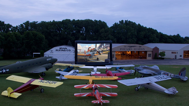 Disney offered an advanced screening of the movie Planes at EAA AirVenture. While there were no airplanes lined up for the viewing, thousands of aviation enthusiasts filled the field. Image courtesy Disney