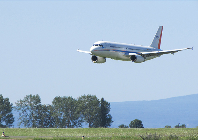 A DLR Airbus A320 makes low passes over a German airport on a mission to smash bugs
