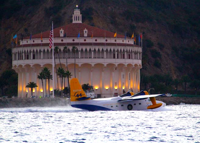 The Catalina Air Show debuted in 2012, with an aerobatic box over Avalon Bay. A Grumman Albatross lands in the bay. Photo by Dan Teckenoff