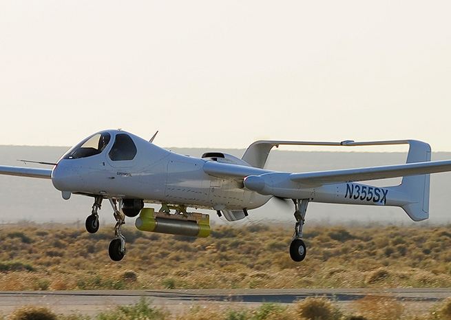Northrop Grumman's Firebird is powered by Lycoming engines that burn unleaded fuel. Northrop Grumman photo by Alan Radecki.