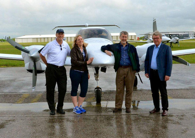 Left to right: John Armstrong, president of Dominion Aircraft Sales; DA-42-VI owners Sue and Dave Passmore; Christian Dries, CEO of Diamond Aircraft.