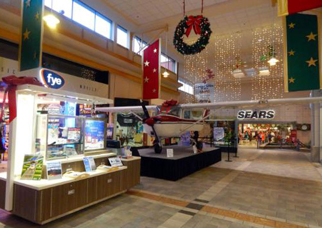 Pilgrim Aviation is displaying a Cessna 150 in a shopping mall this holiday season.