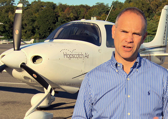 Hopscotch Air CEO Andrew Schmertz on the ramp at Westchester County Airport in White Plains, N.Y. on Oct. 1. Photo courtesy Linear Air/Hopscotch Air.