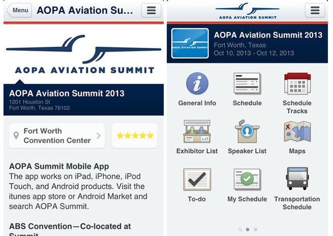 AOPA Aviation Summit 2013 screenshots from the iOS version.