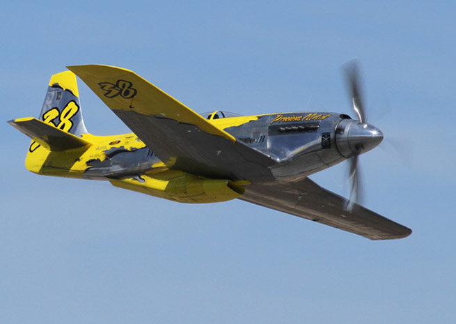 Precious Metal, a P-51 flown by Thom Richard of Florida, placed fifth in the Unlimited Breitling Gold race. Photo by Robert Fisher