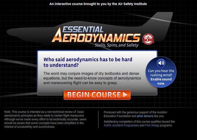 Air Safety Instiute Essential Aerodynamics online course.