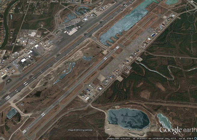 General aviation is located on the east side of Fairbanks Airport, to the right of the runways in this Google Earth image.