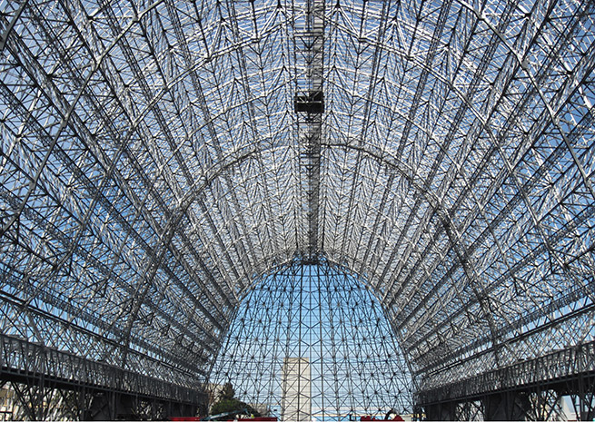 The historic Hangar One is currently skinless, if not boneless. NASA photo.