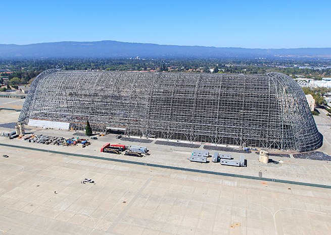 Hangar One is a prominent Silicon Valley landmark. NASA Photo.
