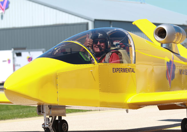 Test pilot Bob Carlton taxis back to the Sonex ramp after first flight of SubSonex Personal Jet model JSX-2.