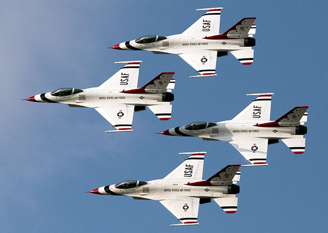 Joint Base Andrews Air Show attendees can watch a demonstration by the U.S. Air Force Thunderbirds.