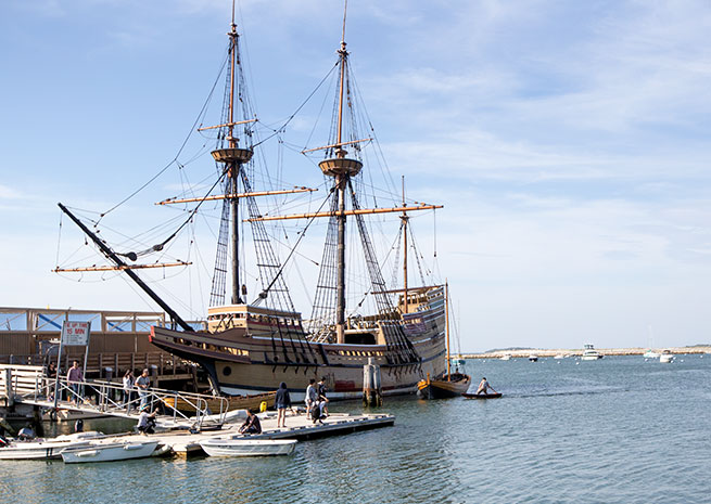 The Mayflower II, a replica of the original, is among several attractions in and around Plymouth operated by Plimoth Plantation.