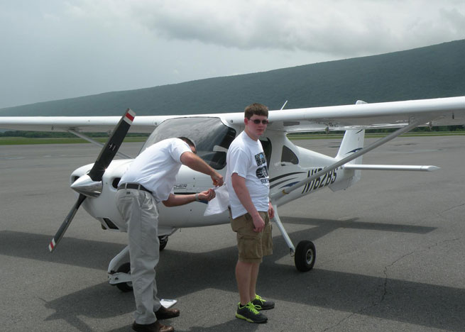 Zac Davis soloed three airplanes on his sixteenth birthday. He is the second student to solo as part of a grant-funded program in Montoursville, Pa.